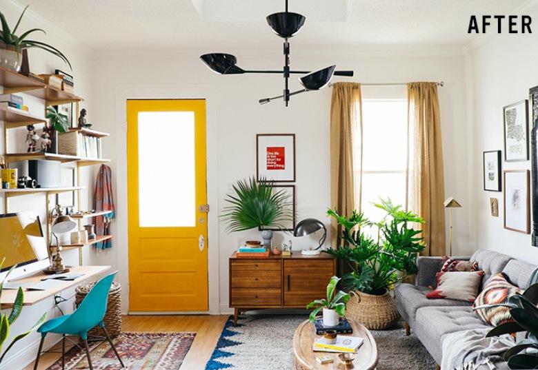 Before & after salonu z domowym gabinetem w eklektycznym stylu, czyli wnętrze pełne kolorów, wzorów i niespodzianek!