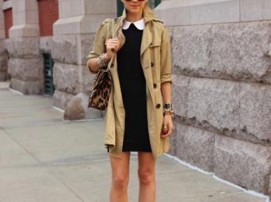 W kolorach jesieni - beżowy płaszcz i czarna sukienka