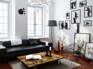 Industrialny stolik na kólkach i czarno-białe grafiki w salonie (25203)
