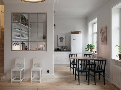 Otwarta kuchnia z przeszkloną ścianką działową (20717)