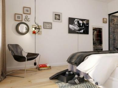 Nowoczesna sypialnia w biało-szarym kolorze (20847)
