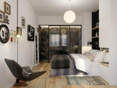 Nowoczesna sypialnia z ciekawą loggią za szklanymi drzwiami (20848)