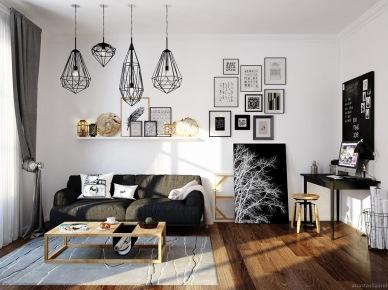 Monochromatyczny salon z domowym gabinetem w stylu skandynawskim (47834)