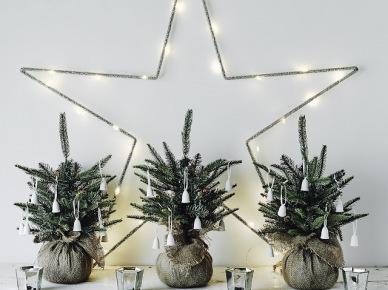 Małe choinki w jutowych woreczkach i duża gwiazda z ledowymi lampkami na ścianę do małego pokoju (47797)