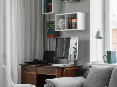 Pomysł na mały kącik biurowy w salonie (19622)