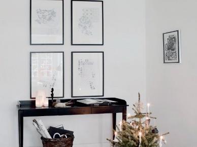 Świąteczna aranżacja konsolki w bieli i czerni (19685)