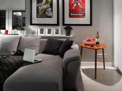 Wąska półka za sofą i nowoczesne plakaty na ścianie w salonie (19621)