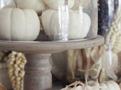 Białe dynie w aranżacji francuskiej kuchni w wiejskim stylu (20583)