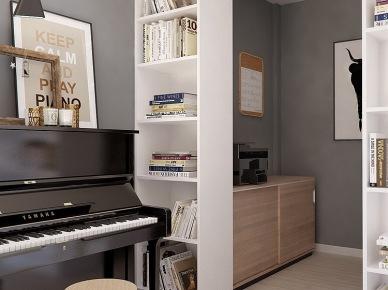 Ścianka działowa z pólkami w aranżacji otwartej przestrzeni mieszkania (24808)