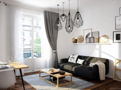 Dekoracje i czarne dodatki w salonie (47832)