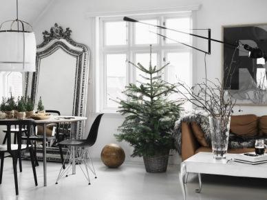 Stylowe duże lustro stojące,biały stolik na srebrnych ludwikowskich nóżkach,zielona surowa choinka w ocynkowanym wiadrze w salonie w eklektycznym  stylu (47843)