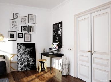 Domowy gabinet w aranżacji salonu (47836)