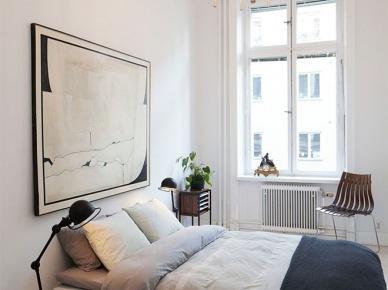 Abstrakcyjny duży obraz w sypialni w biało-czarnym kolorze (20899)