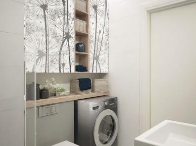 Szafki z biało-czarną fototapetą w dmuchawce łączone z drewnem w aranzacji biało-szarej łazienki (26023)