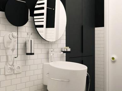 Czarne ściany i białe płytki w łazience (20851)