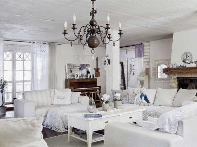 Romantyczny biały salon w stylu shabby chic (21479)