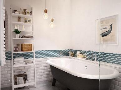 Biała drabinka z pólkami,żarówki na kablu,płytka biała cegielka,szara betonowa posadzka i turkusowy dekor na scianie w łazience (24815)