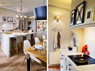 Białe szafki kuchenne wprowadzają subtelny klimat do pomieszczenia. Czarne dodatki w wyrazisty sposób urozmaicają lekką aranżację. W kuchni z jadalnią zastosowano sporo drobnych dekoracji, które razem tworzą przytulny ciepły charakter...