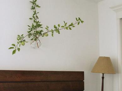 Wiszący wazon z zieloną rośliną nad łóżkiem z drewnianym wezgłowiem z desek (20898)