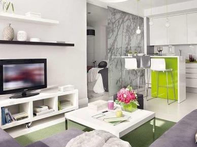 Jak pomysłowo i tanio urządzić małe mieszkanie w limonkowym i szarym kolorze - zakupy online