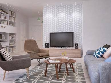 kolejny doskonały projekt mieszkania dla młodych ludzi - to wizualizacja 3d mieszkania w stylu skandynawskim. Funkcjonalne mieszkanie w pastelowych barwach od koloru białej cegły, naturalnego drewna po odcienie błękitu i szarości.Gdzieniegdzie tylko można zauważyć kolorowy kontrapunkt w czerwieni - to 100% skandynawskiego stylu i designu.Piękne, proste i funkcjonale z doskonale zagospodarowaną małą przestrzenią. Otwarta na salon kuchnia z jadalnią, kącik biurowy ukryty fenomenalnie za pólkami z książkami i radosna sypialnia. W łazience mamy wolnostojącą wannę, kabinę prysznicową i drabinkę z półkami na akcesoria łazienkowe. Łazienka została zaaranżowana w kolorach szarości, brudnego, zielonkawego błękitu i uzupełniona ciepłem naturalnej barwy drewna. Estetycznie, schludnie i wyjątkowo miło ! Funkcjonalnie, ciekawie i bez zadęcia - oto sedno skandynawskiego stylu...