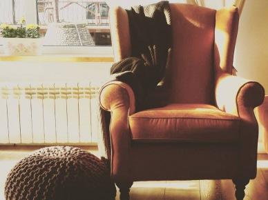 Brązowy fotel z zausznikami w aranżacji salonu (47806)