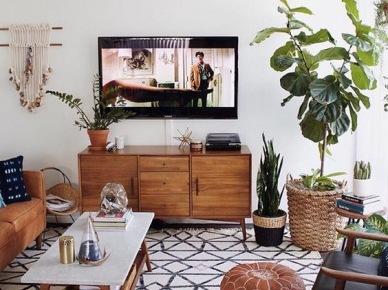 Granatowa sofa i ma a biblioteczka w salonie zdj cie w for Biblioteczka w salonie