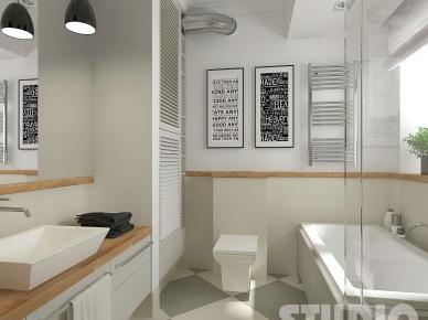 Biało Szara łazienka łazienka Z Motywem Kwiatowym Zdjęcie