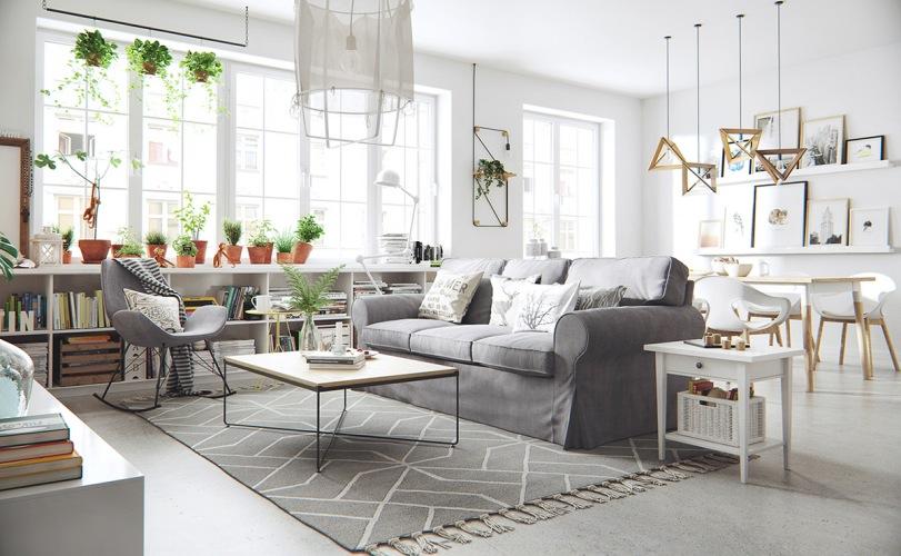 Skandynawska aranżacja otwartej przestrzeni i sypialni z betonową podłogą