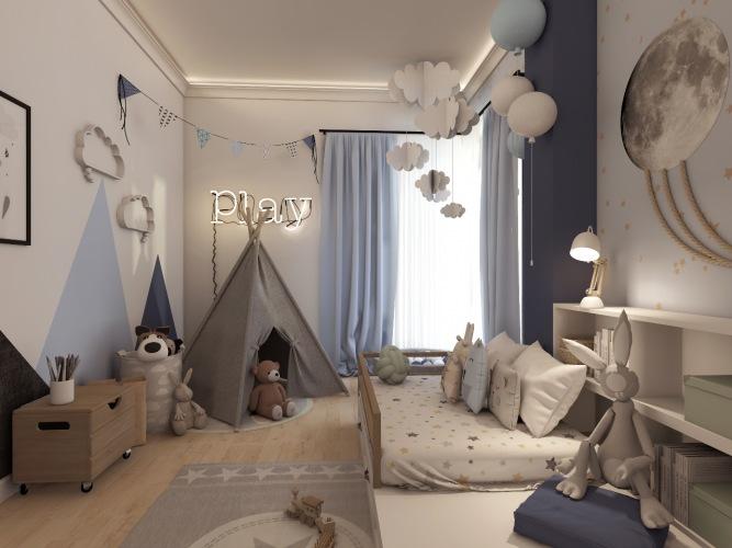 Pokój dziecięcy z błękitnymi dodatkami i wigwamem do zabawy
