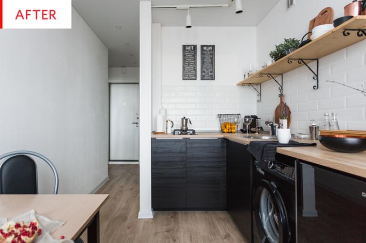 Pomysły na metamorfozę, czyli before & after kuchni z czarnymi szafkami i drewnianymi blatami