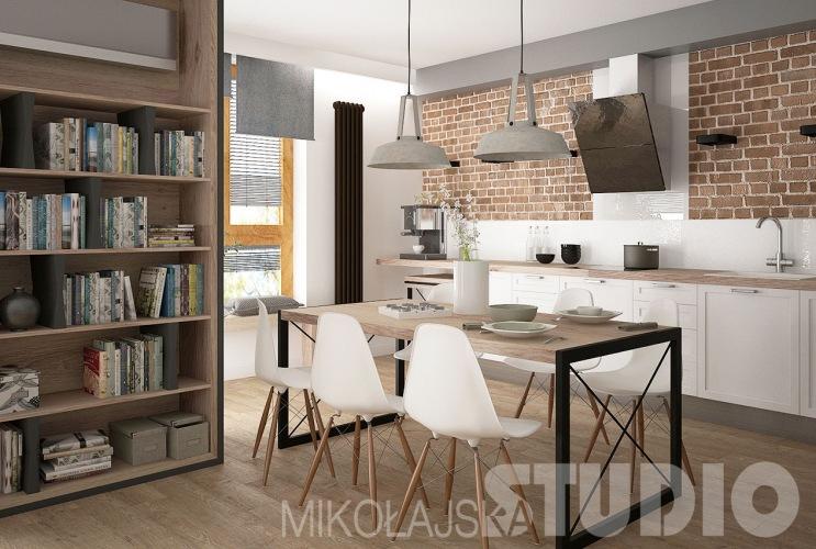 Polski projekt mieszkania w stylu skandynawskim z industrialnymi dodatkami i czerwoną cegłą