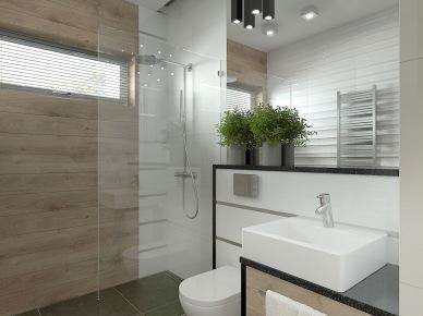 Biało Szara łazienka Ze Skośną ścianą Z Oknem Zdjęcie W