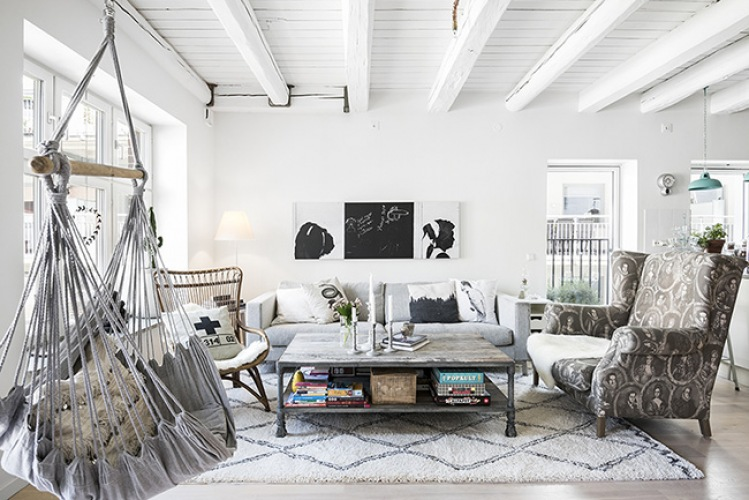 Ciekawa aranżacja mieszkania z otwartą przestrzenią w stylu skandynawskim i boho!