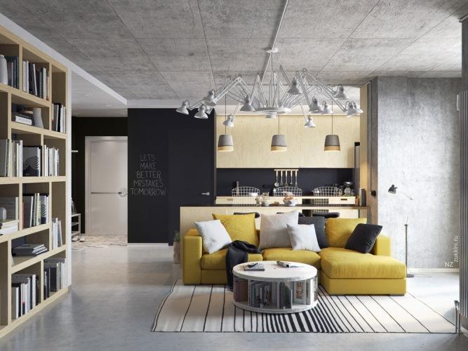 Nowoczesna aranżacja z klimatem loftu, czyli przestronne szare mieszkanie z żółtymi dodatkami