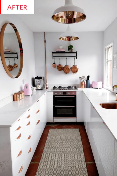 Zaskakujące before & after kuchni, czyli... jak wyjść z białych cegieł i zorganizować w kuchni kąt do relaksu z różową ścianą :)