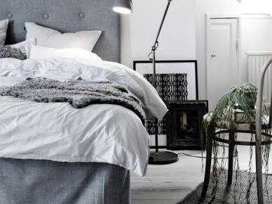 Szaro-niebieska sypialnia w skandynawskiej klasyce ...